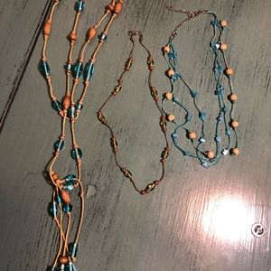 """Thread and bead """"floating"""" necklace 1 long 2 short"""